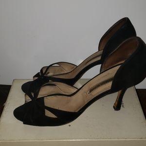 Open toe suede shoes